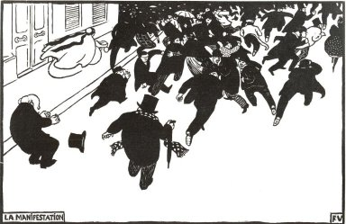 Félix Vallotton (Swiss, 1865-1925). <em>La Manifestation</em>, 1893. Woodcut on wove paper, 8 x 12 9/16 in. (20.3 x 31.9 cm). Brooklyn Museum, Charles Stewart Smith Memorial Fund, 38.341 (Photo: Brooklyn Museum, CUR.38.341.jpg)