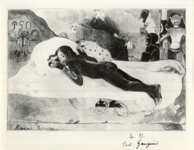 Paul Gauguin (French, 1848-1903). <em>Manao Tupapau (Watched by the Spirits of the Dead)</em>, 1894. Lithograph on wove paper Brooklyn Museum, Charles Stewart Smith Memorial Fund, 38.386 (Photo: Brooklyn Museum, CUR.38.386.jpg)