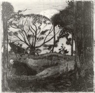 Armand Seguin (French, 1868-1903). <em>Paysage</em>, 1894. Etching in bistre on laid paper, 9 1/16 x 9 in. (23 x 22.8 cm). Brooklyn Museum, Charles Stewart Smith Memorial Fund, 38.400 (Photo: Brooklyn Museum, CUR.38.400.jpg)