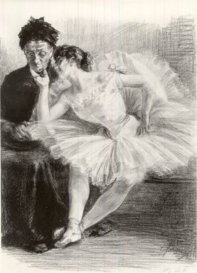 Paul Renouard (French, 1845-1924). <em>Danseuse et sa  mère</em>, 1894. Lithograph on wove paper, 18 3/8 x 13 5/8 in. (46.7 x 34.6 cm). Brooklyn Museum, Charles Stewart Smith Memorial Fund, 38.410 (Photo: Brooklyn Museum, CUR.38.410.jpg)