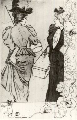 Richard Ranft (Swiss, 1862-1931). <em>Trottins</em>, 1894. Etching on wove paper, Plate: 15 5/8 x 10 1/8 in. (39.7 x 25.7 cm). Brooklyn Museum, Charles Stewart Smith Memorial Fund, 38.411 (Photo: Brooklyn Museum, CUR.38.411.jpg)