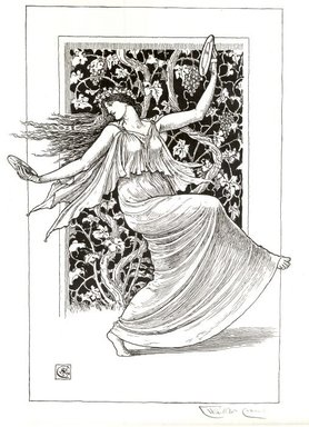 Walter T. Crane (British, 1845-1915). <em>Danseuse aux cymbales</em>, 1894. Lithograph on laid paper, Image: 17 x 11 5/8 in. (43.2 x 29.5 cm). Brooklyn Museum, Charles Stewart Smith Memorial Fund, 38.417 (Photo: Brooklyn Museum, CUR.38.417.jpg)