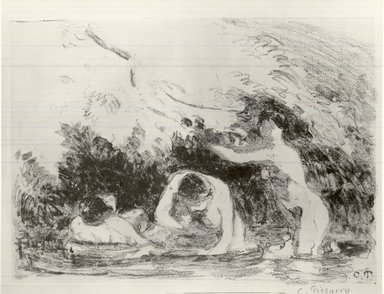 Camille Jacob Pissarro (French, 1830-1903). <em>Bathers in the Shade of Wooded Banks (Baigneuses à l'ombre des berges boisées)</em>, 1894. Lithograph on chine colle paper, 6 1/8 x 8 11/16 in. (15.5 x 22 cm). Brooklyn Museum, Charles Stewart Smith Memorial Fund, 38.420 (Photo: Brooklyn Museum, CUR.38.420.jpg)