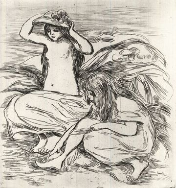 Pierre-Auguste Renoir (French, 1841-1919). <em>Les Deux Baigneuses</em>, ca. 1895. Etching on buff wove paper, 10 5/16 x 9 1/2 in. (26.2 x 24.1 cm). Brooklyn Museum, Charles Stewart Smith Memorial Fund, 38.422 (Photo: Brooklyn Museum, CUR.38.422.jpg)