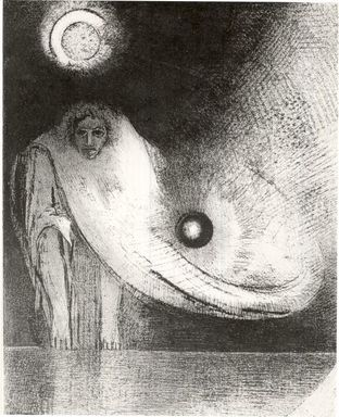 Odilon Redon (French, 1840-1916). <em>The Buddha (Le Buddha)</em>, 1895. Lithograph on China paper laid down, 12 5/16 x 9 3/4 in. (31.3 x 24.8 cm). Brooklyn Museum, Charles Stewart Smith Memorial Fund, 38.423 (Photo: Brooklyn Museum, CUR.38.423.jpg)