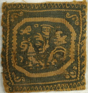 Coptic. <em>Square Fragment with Figural, Animal, and Botanical Decoration</em>, 6th-7th century C.E. Wool, 3 1/2 x 3 1/4 in. (8.9 x 8.3 cm). Brooklyn Museum, Charles Edwin Wilbour Fund, 38.652. Creative Commons-BY (Photo: Brooklyn Museum (in collaboration with Index of Christian Art, Princeton University), CUR.38.652_ICA.jpg)
