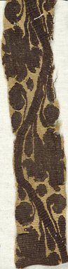 Coptic. <em>Band Fragment with Botanical Decoration</em>, 6th century C.E. Flax, wool, 1 1/2 x 8 in. (3.8 x 20.3 cm). Brooklyn Museum, Charles Edwin Wilbour Fund, 38.653. Creative Commons-BY (Photo: Brooklyn Museum (in collaboration with Index of Christian Art, Princeton University), CUR.38.653_ICA.jpg)