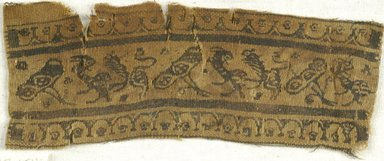 Coptic. <em>Band Fragment with Animal Decoration</em>, 7th century C.E. Linen, wool, 2 1/2 x 8 in. (6.4 x 20.3 cm). Brooklyn Museum, Charles Edwin Wilbour Fund, 38.654. Creative Commons-BY (Photo: Brooklyn Museum (in collaboration with Index of Christian Art, Princeton University), CUR.38.654_ICA.jpg)