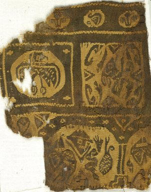 Coptic. <em>Fragment with Figural, Animal and Botanical Decoration</em>, 6th-7th century C.E. Wool (?), 4 5/8 x 5 3/4 in. (11.7 x 14.6 cm). Brooklyn Museum, Charles Edwin Wilbour Fund, 38.655. Creative Commons-BY (Photo: Brooklyn Museum (in collaboration with Index of Christian Art, Princeton University), CUR.38.655_ICA.jpg)