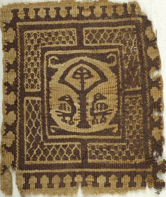 Coptic. <em>Square Fragment with Animal, Botanical and Geometric Decoration</em>, 6th century C.E. Flax, wool, 7 x 8 in. (17.8 x 20.3 cm). Brooklyn Museum, Charles Edwin Wilbour Fund, 38.657. Creative Commons-BY (Photo: Brooklyn Museum (in collaboration with Index of Christian Art, Princeton University), CUR.38.657_ICA.jpg)