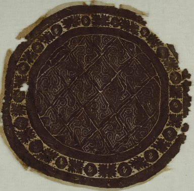 Coptic. <em>Roundel with Botanical and Geometric Decoration</em>, 4th-5th century C.E. Flax, wool, 11 1/4 x 11 1/2 in. (28.6 x 29.2 cm). Brooklyn Museum, Charles Edwin Wilbour Fund, 38.669. Creative Commons-BY (Photo: Brooklyn Museum (in collaboration with Index of Christian Art, Princeton University), CUR.38.669_ICA.jpg)
