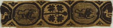 Coptic. <em>4 Border Fragments with Animal and Botanical Decorations</em>, 6th century C.E. Flax, wool, 38.671a: 2 3/4 x 11 1/4 in. (7 x 28.6 cm). Brooklyn Museum, Charles Edwin Wilbour Fund, 38.671a-d. Creative Commons-BY (Photo: Brooklyn Museum (in collaboration with Index of Christian Art, Princeton University), CUR.38.671A_ICA.jpg)