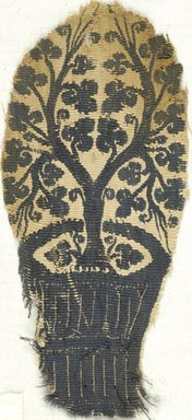 Coptic. <em>Tree Growing From a Basket</em>, 5th century C.E. Flax, wool, 6 7/8 x 3 1/8 in. (17.5 x 7.9 cm). Brooklyn Museum, Charles Edwin Wilbour Fund, 38.673. Creative Commons-BY (Photo: Brooklyn Museum (in collaboration with Index of Christian Art, Princeton University), CUR.38.673_ICA.jpg)