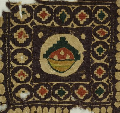 Coptic. <em>Basket of Fruit</em>, 6th century C.E. Flax, wool, 9 1/2 x 10 in. (24.1 x 25.4 cm). Brooklyn Museum, Charles Edwin Wilbour Fund, 38.679. Creative Commons-BY (Photo: Brooklyn Museum (in collaboration with Index of Christian Art, Princeton University), CUR.38.679_ICA.jpg)