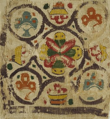 Coptic. <em>Square Fragment with Basket and Botanical Decoration</em>, 6th century C.E. Flax, wool, 10 x 11 in. (25.4 x 27.9 cm). Brooklyn Museum, Charles Edwin Wilbour Fund, 38.682. Creative Commons-BY (Photo: Brooklyn Museum (in collaboration with Index of Christian Art, Princeton University), CUR.38.682_ICA.jpg)