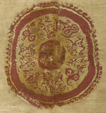 Coptic. <em>Roundel with Animal and Botanical Decoration</em>, 6th-7th century C.E. Flax, wool, 6 x 6 1/2 in. (15.2 x 16.5 cm). Brooklyn Museum, Charles Edwin Wilbour Fund, 38.686. Creative Commons-BY (Photo: Brooklyn Museum (in collaboration with Index of Christian Art, Princeton University), CUR.38.686_ICA.jpg)