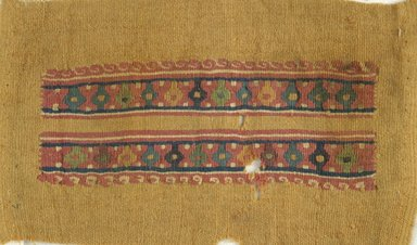 Coptic. <em>Tunic Sleeve Fragment</em>, 6th century C.E. Wool, 5 x 9 in. (12.7 x 22.9 cm). Brooklyn Museum, Charles Edwin Wilbour Fund, 38.745. Creative Commons-BY (Photo: Brooklyn Museum (in collaboration with Index of Christian Art, Princeton University), CUR.38.745_ICA.jpg)