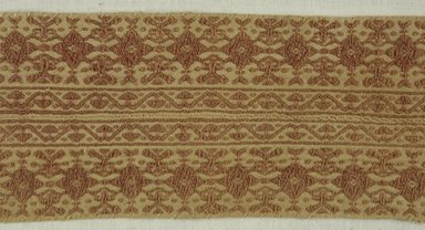 Coptic. <em>Band Fragment with Botanical and Geometric Decoration</em>, 7th-8th century C.E. Flax, wool, 4 x 24 in. (10.2 x 61 cm). Brooklyn Museum, Charles Edwin Wilbour Fund, 38.746. Creative Commons-BY (Photo: Brooklyn Museum (in collaboration with Index of Christian Art, Princeton University), CUR.38.746_detail01_ICA.jpg)