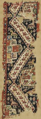 Coptic. <em>Band Fragment with Animal, Botanical, and Geometric Decoration</em>, 9th-10th century C.E. Wool, linen, 5 5/16 x 16 15/16 in. (13.5 x 43 cm). Brooklyn Museum, Charles Edwin Wilbour Fund, 38.754. Creative Commons-BY (Photo: Brooklyn Museum (in collaboration with Index of Christian Art, Princeton University), CUR.38.754_ICA.jpg)