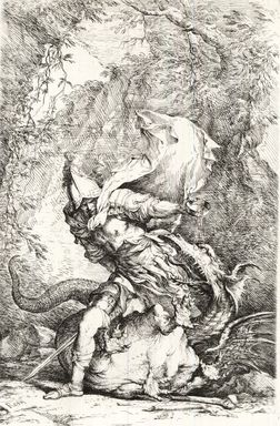 Salvator Rosa (Italian, 1615-1673). <em>Jason and the Dragon</em>. Etching on laid paper, Image: 13 1/4 x 8 9/16 in. (33.7 x 21.7 cm). Brooklyn Museum, Museum Collection Fund, 39.11 (Photo: Brooklyn Museum, CUR.39.11_print.jpg)