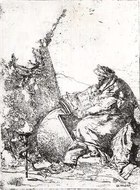 Giovanni Battista Tiepolo (Italian, Venetian,1696-1770). <em>Le Philosophe Seul</em>, ca. 1740. Etching on white laid paper, image: 9 1/8 x 6 11/16 in. (23.1 x 17 cm). Brooklyn Museum, Museum Collection Fund, 39.12 (Photo: Brooklyn Museum, CUR.39.12.jpg)