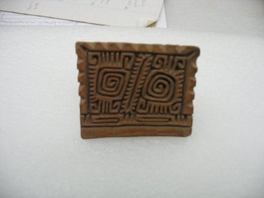 Possibly Aztec. <em>Stamp</em>, 1000-1500. Ceramic, 2 1/8 x 1 7/8 x 2 1/2 in. (5.4 x 4.8 x 6.4 cm). Brooklyn Museum, Ella C. Woodward Memorial Fund, 39.123.18. Creative Commons-BY (Photo: Brooklyn Museum, CUR.39.123.18.jpg)