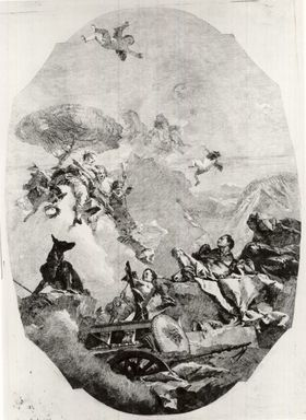 Lorenzo Tiepolo (Italian, 1736-1776). <em>Une Deesse Apparaissant a un Guerrier</em>. Etching on wove paper, Image: 21 7/8 x 15 11/16 in. (55.5 x 39.9 cm). Brooklyn Museum, Museum Collection Fund, 39.13 (Photo: Brooklyn Museum, CUR.39.13.jpg)