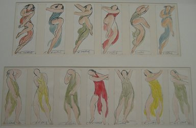 Abraham Walkowitz (American, born Russia, 1878-1965). <em>Isadora Duncan #42</em>. Watercolor, pen, ink, 6 3/4 x 2 5/8 in. (17.1 x 6.7 cm). Brooklyn Museum, Gift of the artist, 39.187 (Photo: , CUR.39.176-.188.jpg)