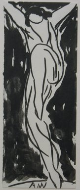 Abraham Walkowitz (American, born Russia, 1878-1965). <em>Dancer</em>, n.d. Brush drawing with India ink on paper, Sheet: 6 3/4 x 2 5/8 in. (17.1 x 6.7 cm). Brooklyn Museum, Gift of the artist, 39.468a (Photo: Brooklyn Museum, CUR.39.468a.jpg)