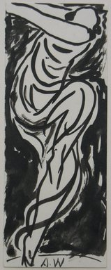 Abraham Walkowitz (American, born Russia, 1878-1965). <em>Dancer</em>, n.d. Brush drawing with India ink on paper, Sheet: 6 3/4 x 2 5/8 in. (17.1 x 6.7 cm). Brooklyn Museum, Gift of the artist, 39.468b (Photo: Brooklyn Museum, CUR.39.468b.jpg)