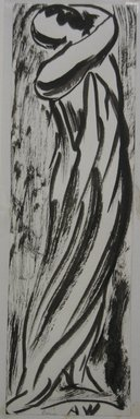 Abraham Walkowitz (American, born Russia, 1878-1965). <em>Draped Figure</em>, n.d. Brush drawing and India ink on paper mounted to paper, Sheet (drawing): 6 3/4 x 2 1/16 in. (17.1 x 5.2 cm). Brooklyn Museum, Gift of the artist, 39.471a (Photo: Brooklyn Museum, CUR.39.471a.jpg)