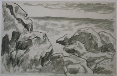 Abraham Walkowitz (American, born Russia, 1878-1965). <em>Rocky Coast</em>, 1904. Ink wash on paper, Sheet: 11 x 17 1/8 in. (27.9 x 43.5 cm). Brooklyn Museum, Gift of the artist, 39.482 (Photo: Brooklyn Museum, CUR.39.482.jpg)