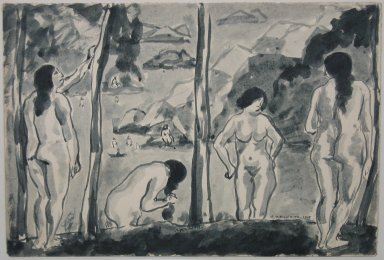 Abraham Walkowitz (American, born Russia, 1878-1965). <em>Bathers</em>, 1915. Wash drawing with brush and ink on paper mounted to paper, Sheet (mount): 10 3/16 x 13 1/8 in. (25.9 x 33.3 cm). Brooklyn Museum, Gift of the artist, 39.488 (Photo: Brooklyn Museum, CUR.39.488.jpg)