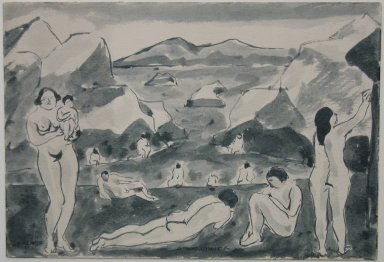 Abraham Walkowitz (American, born Russia, 1878-1965). <em>Nude Figures in a Landscape</em>, 1917. Pen and ink wash on paper, Sheet: 6 7/8 x 10 in. (17.5 x 25.4 cm). Brooklyn Museum, Gift of the artist, 39.489 (Photo: Brooklyn Museum, CUR.39.489.jpg)
