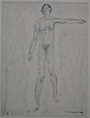 Abraham Walkowitz (American, born Russia, 1878-1965). <em>Nude Figure with Left Arm Raised</em>, 1905. Pen and ink with brush shading on paper, Sheet: 9 7/16 x 7 1/8 in. (24 x 18.1 cm). Brooklyn Museum, Gift of the artist, 39.490 (Photo: Brooklyn Museum, CUR.39.490.jpg)