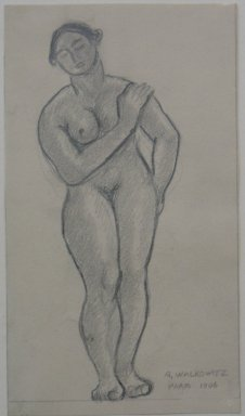Abraham Walkowitz (American, born Russia, 1878-1965). <em>Nude Standing with Hand on Left Shoulder</em>, 1906. Graphite on paper, Sheet: 6 1/4 x 3 9/16 in. (15.9 x 9 cm). Brooklyn Museum, Gift of the artist, 39.491 (Photo: Brooklyn Museum, CUR.39.491.jpg)
