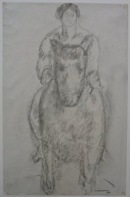Abraham Walkowitz (American, born Russia, 1878-1965). <em>Man on Horseback</em>, 1904. Charcoal on paper, Sheet: 12 5/16 x 8 in. (31.3 x 20.3 cm). Brooklyn Museum, Gift of the artist, 39.492 (Photo: Brooklyn Museum, CUR.39.492.jpg)