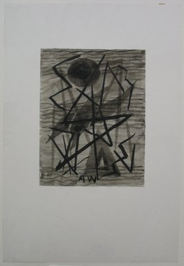 Abraham Walkowitz (American, born Russia, 1878-1965). <em>Abstraction in Grey and Black No. 1</em>, n.d. Drawing in ink wash with brush on paper mounted to paper, Sheet (mount): 10 1/2 x 7 3/16 in. (26.7 x 18.3 cm). Brooklyn Museum, Gift of the artist, 39.494 (Photo: Brooklyn Museum, CUR.39.494.jpg)