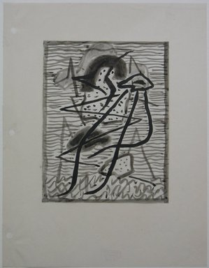 Abraham Walkowitz (American, born Russia, 1878-1965). <em>Abstraction in Grey and Black No. 2</em>, n.d. Ink wash with brush on paper mounted to paper, Sheet (mount): 11 x 8 1/2 in. (27.9 x 21.6 cm). Brooklyn Museum, Gift of the artist, 39.495 (Photo: Brooklyn Museum, CUR.39.495.jpg)