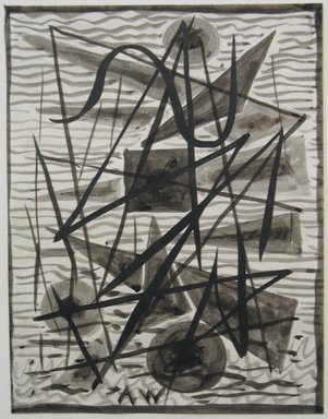 Abraham Walkowitz (American, born Russia, 1878-1965). <em>Abstraction in Grey and Black No. 3</em>, n.d. Ink wash with brush on paper, Sheet: 6 3/4 x 5 3/16 in. (17.1 x 13.2 cm). Brooklyn Museum, Gift of the artist, 39.496 (Photo: Brooklyn Museum, CUR.39.496.jpg)