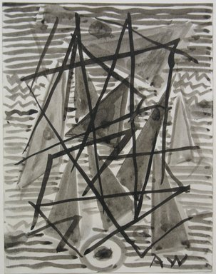 Abraham Walkowitz (American, born Russia, 1878-1965). <em>Abstraction in Grey and Black No. 4</em>, n.d. Ink wash with brush on paper, Sheet: 6 3/4 x 5 1/4 in. (17.1 x 13.3 cm). Brooklyn Museum, Gift of the artist, 39.497 (Photo: Brooklyn Museum, CUR.39.497.jpg)