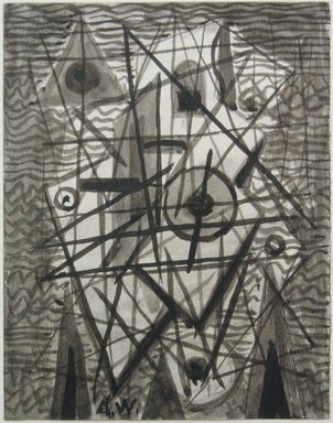 Abraham Walkowitz (American, born Russia, 1878-1965). <em>Abstraction in Grey and Black No. 5</em>, n.d. Drawing in ink wash with brush on paper, Sheet: 6 3/4 x 5 1/4 in. (17.1 x 13.3 cm). Brooklyn Museum, Gift of the artist, 39.498 (Photo: Brooklyn Museum, CUR.39.498.jpg)