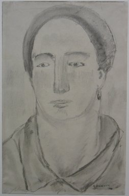 Abraham Walkowitz (American, born Russia, 1878-1965). <em>Head of Woman with Earrings</em>, 1908. Drawing in charcoal, partly washed on paper, Sheet: 11 1/16 x 7 1/8 in. (28.1 x 18.1 cm). Brooklyn Museum, Gift of the artist, 39.499 (Photo: Brooklyn Museum, CUR.39.499.jpg)