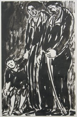 Abraham Walkowitz (American, born Russia, 1878-1965). <em>Man, Woman and Child Standing</em>, n.d. India ink and brush on paper, Sheet: 10 1/2 x 6 3/4 in. (26.7 x 17.1 cm). Brooklyn Museum, Gift of the artist, 39.509 (Photo: Brooklyn Museum, CUR.39.509.jpg)