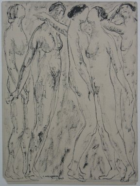 Abraham Walkowitz (American, born Russia, 1878-1965). <em>Nude Figures</em>, 1907. Ink and graphite on paper, Sheet: 9 7/16 x 6 15/16 in. (24 x 17.6 cm). Brooklyn Museum, Gift of the artist, 39.510 (Photo: Brooklyn Museum, CUR.39.510.jpg)
