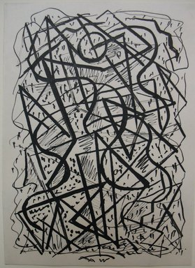 Abraham Walkowitz (American, born Russia, 1878-1965). <em>Abstraction with Lines</em>, n.d. Pen and ink on paper, Sheet: 6 3/4 x 4 7/8 in. (17.1 x 12.4 cm). Brooklyn Museum, Gift of the artist, 39.522 (Photo: Brooklyn Museum, CUR.39.522.jpg)