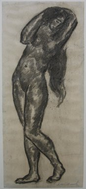 Abraham Walkowitz (American, born Russia, 1878-1965). <em>Nude Figure with Arms Above Head</em>, n.d. Charcoal on paper, Sheet: 12 1/2 x 5 3/8 in. (31.8 x 13.7 cm). Brooklyn Museum, Gift of the artist, 39.523 (Photo: Brooklyn Museum, CUR.39.523.jpg)