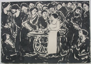 Abraham Walkowitz (American, born Russia, 1878-1965). <em>Illustration</em>, n.d. Brush and India ink on paper, Sheet: 7 x 10 in. (17.8 x 25.4 cm). Brooklyn Museum, Gift of the artist, 39.532 (Photo: Brooklyn Museum, CUR.39.532.jpg)