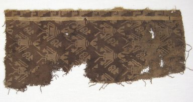 Chancay. <em>Textile Fragment, unascertainable or Mantle, Fragment</em>, 1000-1532. Cotton, 5 3/4 × 13 in. (14.6 × 33 cm). Brooklyn Museum, Gift of Baron Wolfgang von Schoeler, 39.617. Creative Commons-BY (Photo: Brooklyn Museum, CUR.39.617.jpg)