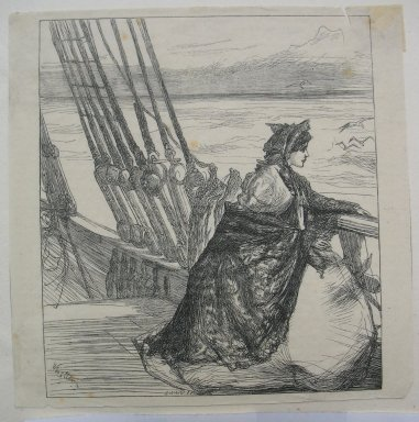 James Abbott McNeill Whistler (American, 1834-1903). <em>The Mayor's Daughter</em>, 1862. Wood engraving on Japan tissue, Sheet: 5 1/4 x 5 5/16 in. (13.3 x 13.5 cm). Brooklyn Museum, Dick S. Ramsay Fund, 39.618 (Photo: Brooklyn Museum, CUR.39.618.jpg)
